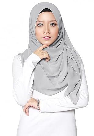SAFIYA - Hijab pour femmes musulmanes voilées I Foulard voile turban  écharpe pashmina châle islamique I Mousseline de soie I Gris clair -  75x180cm (Gris ... 777293af6aa