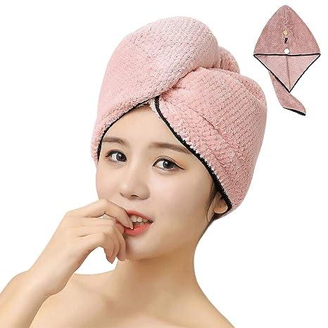 Toalla de secado de pelo muy absorbente, turbante para diferentes estilos de pelo, toalla