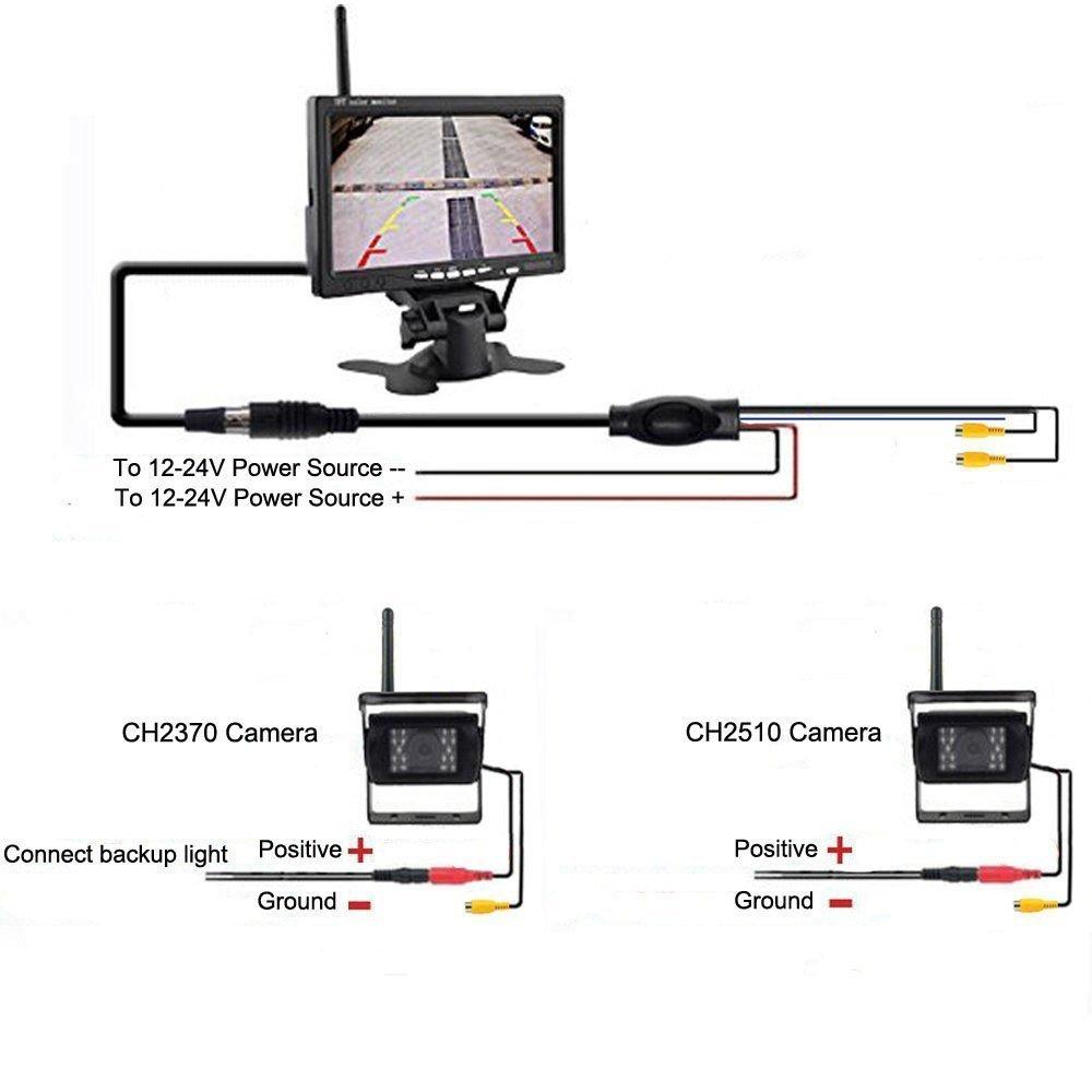 7 TFT LCD HD 800 x 480 Monitor en color para RV Cami/ón Remolque Autob/ús C/ámara de respaldo inal/ámbrica Veh/ículo 2 x Sistema de estacionamiento 18 IR LED Visi/ón nocturna