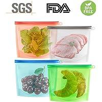 Bolsas de Silicona, Bolsas de Alimentos Reutilizable, Bolsa de Comida de Almacenamiento para Congelación, Calefacción Recipiente Hermético (1L x 4)