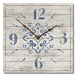 Highland Home Blue and White 12 Square Pallet Wood Clock