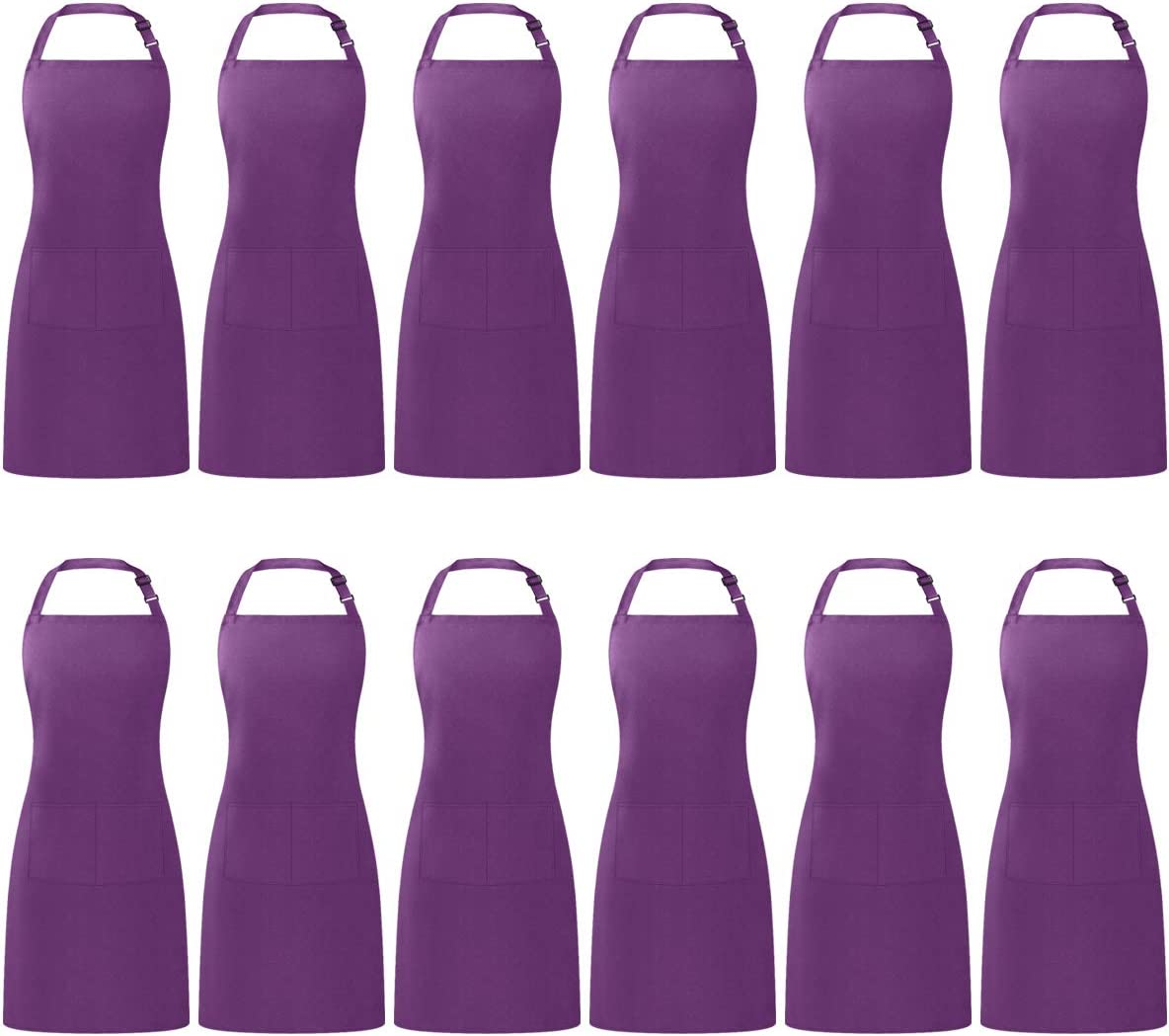 Puroma Adjustable Bib Apron Waterdrop Resistant with 2 Pockets, Unisex Cooking Kitchen Aprons for Chef Couple BBQ Painting, (Purple, 12)