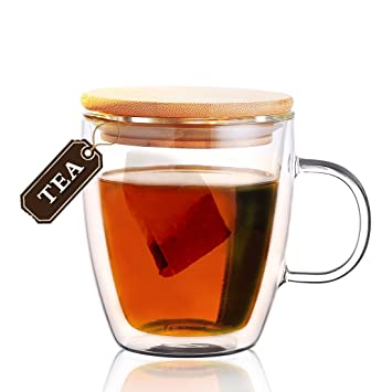 Heiße Getränke Bambusabdeckung Tee-Glasschale, doppelte Wand-Glas ...