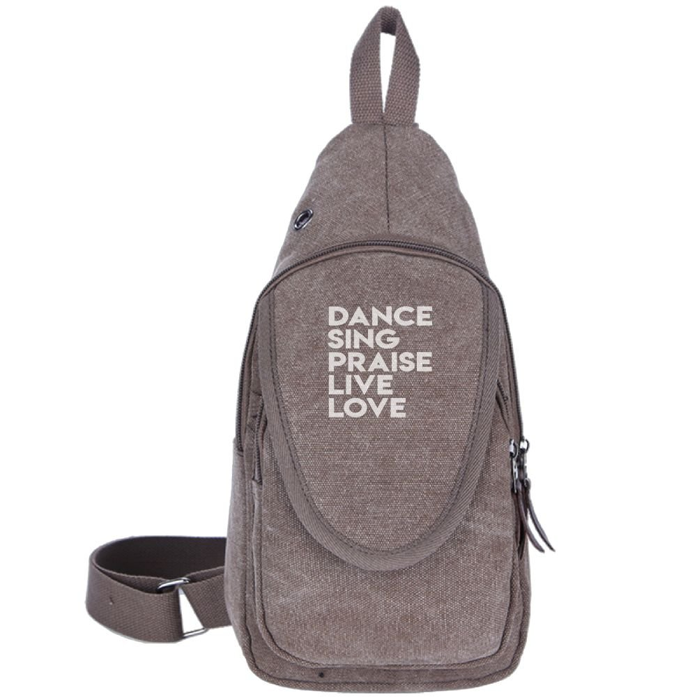 DANCE SING PRAISE LIVE LOVE Fashion Men's Bosom Bag Cross Body New Style Men Canvas Chest Bags Brown
