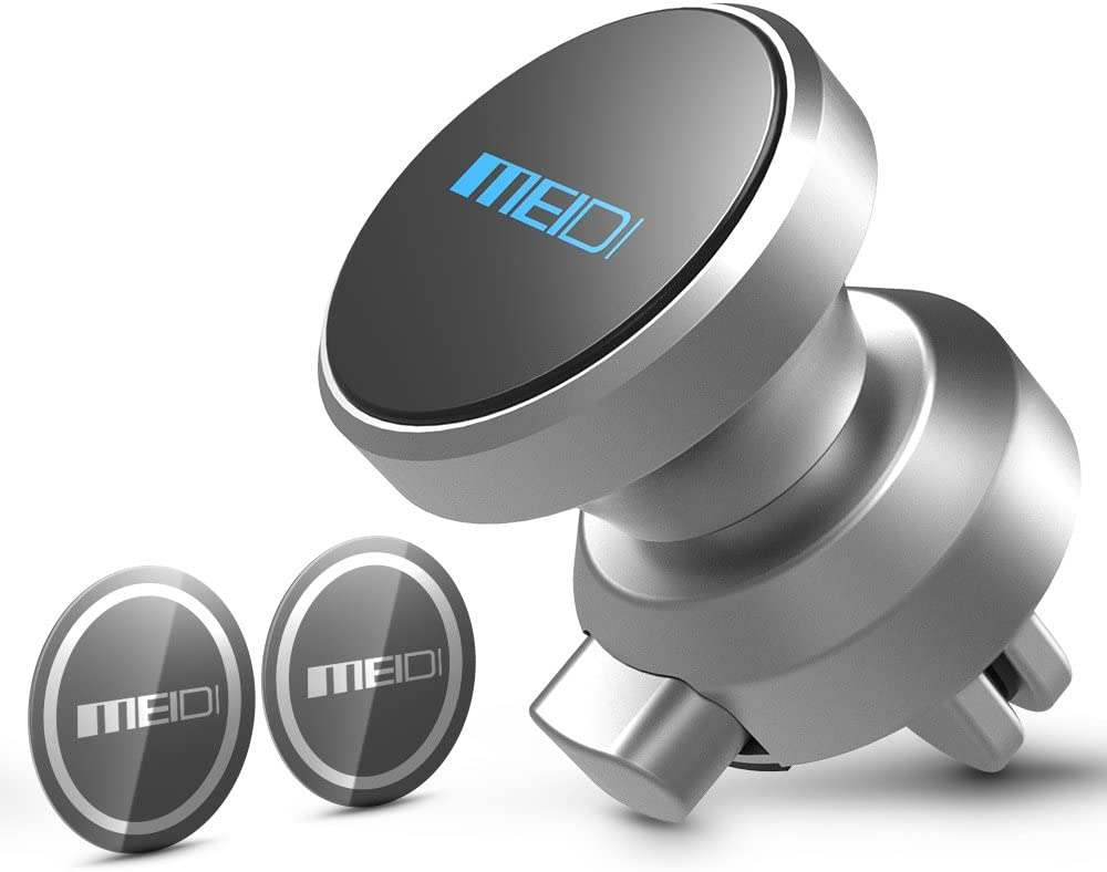 MEIDI Car Phone Holder, Air Vent Phone Holder, 360 Degree Rotatable Universal Cell Phone GPS Holder with Powerful Magnets Compatible with iPhone Samsung HTC LG Motorola (Silver)