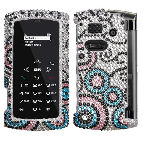 Hard Diamante Protector Skin Cover (Faceplate/Snap On) Full Rhinestones Diamond Bling for Sanyo Incognito SCP-6760 Boost Mobile,Sprint - Bubble Flow (Phone Sanyo Cases Cell)
