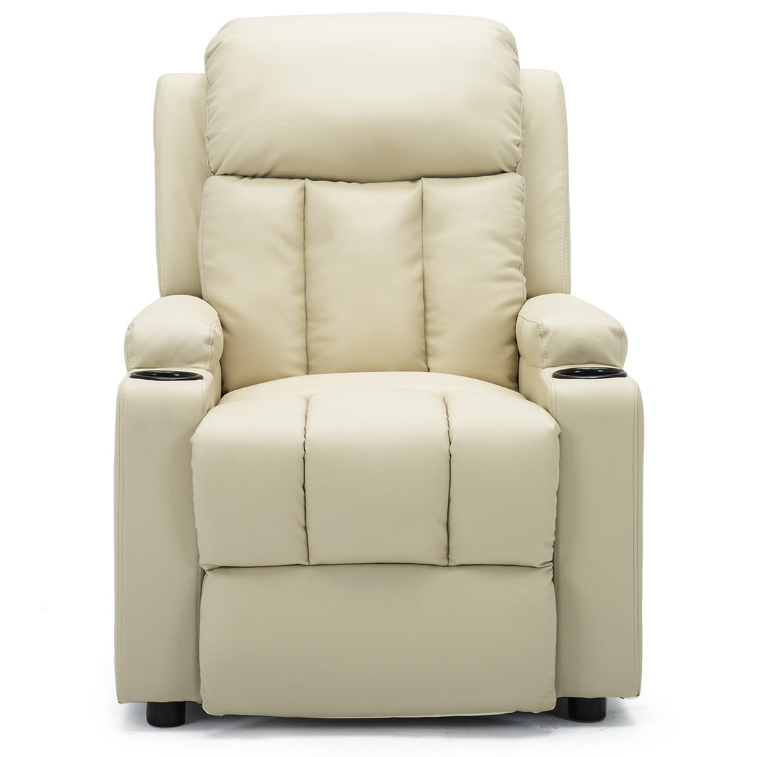 More4Homes STUDIO RECLINER w DRINK HOLDERS ARMCHAIR SOFA BONDED LEATHER CHAIR RECLINING CINEMA Black