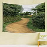 longbuyer HobbitsWall TapestryElf Path in Woods of Hobbit Land in The Shire New Zealand Movie Set Image PrintPsychedelic Dorm DecorL70.8 xH92.5Green Brown.