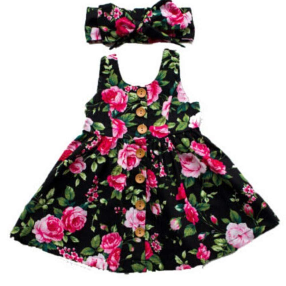 Wang-RX Vestido de Las niñas Ropa para bebés Ropa con botón Floral ...