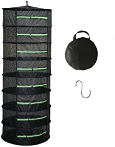 XXL Herb Drying Rack,Drying Rack Herbs for Plant Bud Seed,Plant Racks for Weed,8 Layer Mesh Hanging Plant Dry,Herb Dry Net,for Garden Outdoor Bud Tea,Mesh Cage Frame with Green Zipper Opening