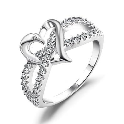 Amazon.com: Caperci Sterling Silver Heart Promise Ring, CZ Diamond ...