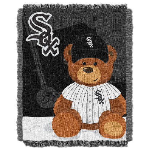 Chicago Onesie Sox White (The Northwest Company MLB Chicago White Sox Field Bear Woven Jacquard Baby Throw, 36