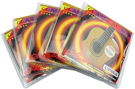 Alice a107bk - H de la guitarra clásica de cuerdas de Nylon negro ...