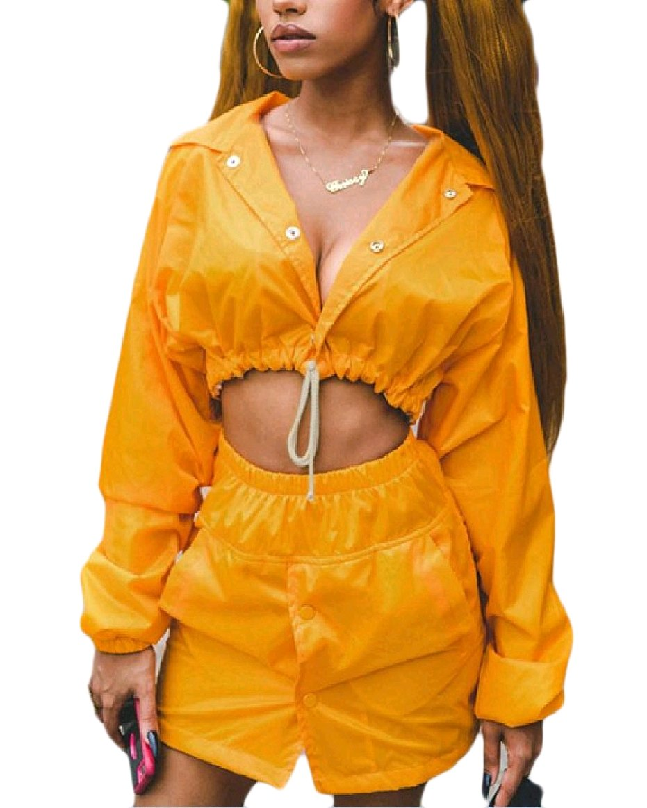 Abetteric Women's 2 Pieces Button-up Jacket and Mini Skirt Outfits Set Yellow M
