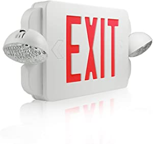 eTopLighting Red LED Exit Sign Emergency Light Combo with Battery Back-Up UL924 ETL Listed, EL2BR-1