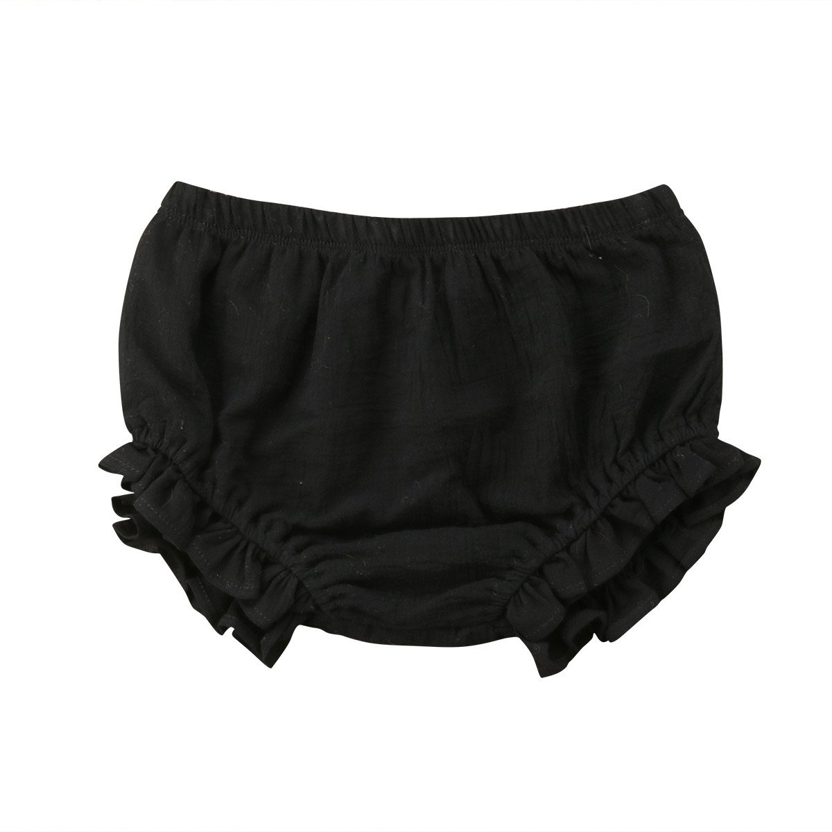 Mornbaby Baby Girl's Bloomers Cotton Ruffle Panty Diaper Covers Underwear Shorts Toddler Kids Girls (Black, 2-3 Years)