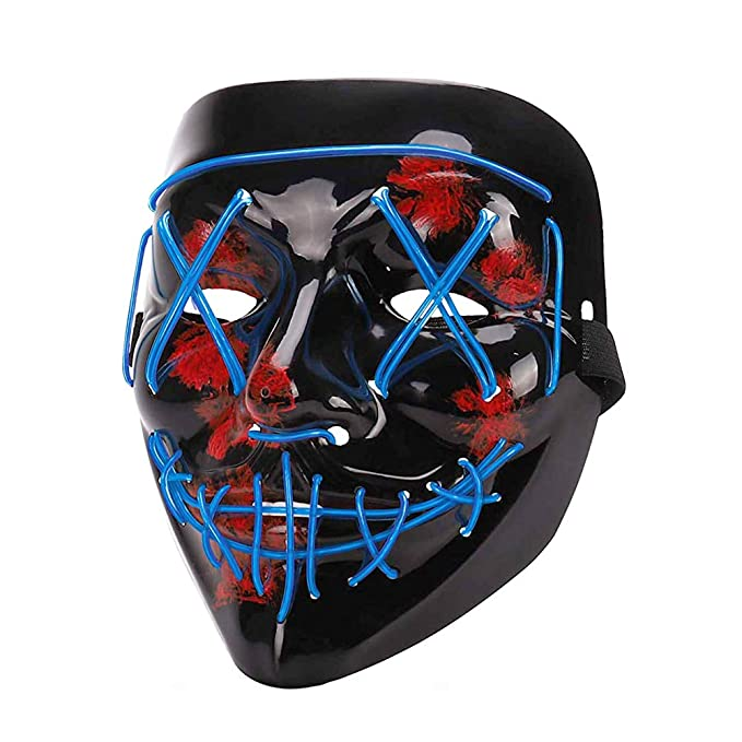 LED Halloween Mask - Halloween Scary Cosplay Light up Mask, EL Wire Mask Glowing mask for Halloween