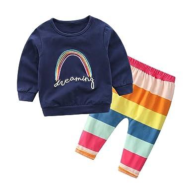 b24c67473e25f VêTements Enfants ADESHOP Mode 2 Pcs Enfant BéBé GarçOn Fille Manches  Longues Lettre Arc-en-Ciel Tops Col Rond Pull-Over T-Shirt Sweat-Shirt  Hauts + ...