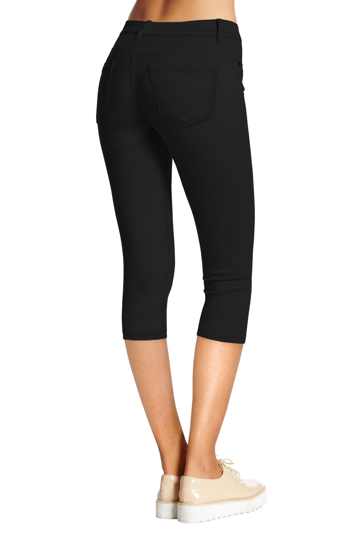 HyBrid & Company Women's Hyper Stretch Denim Capri Jeans Q44876 Black Medium by HyBrid & Company (Image #2)