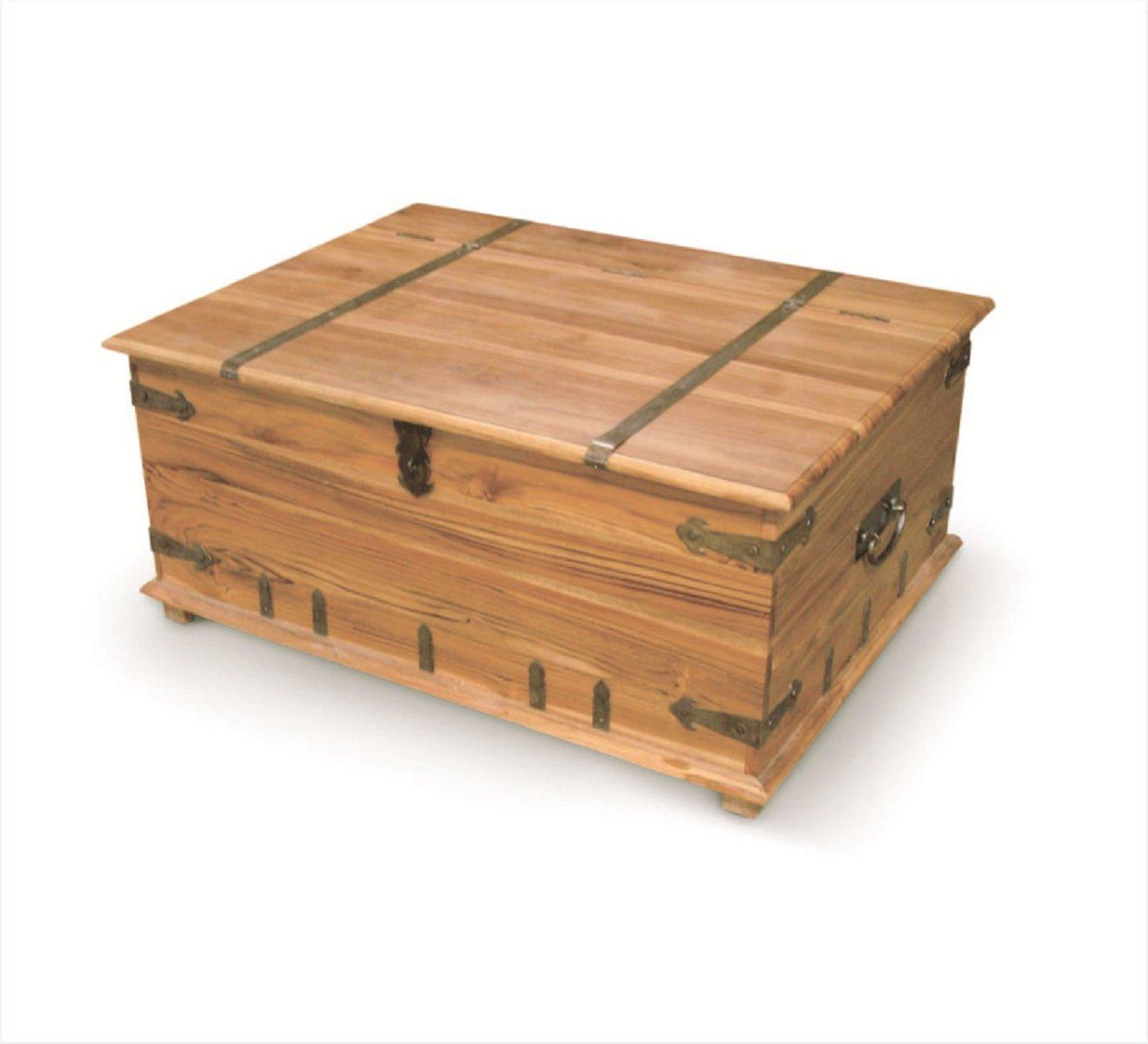 NES Furniture Nes Fine Handcrafted Furniture Solid Teak Wood Joseph Storage Trunk - 32'', Natural