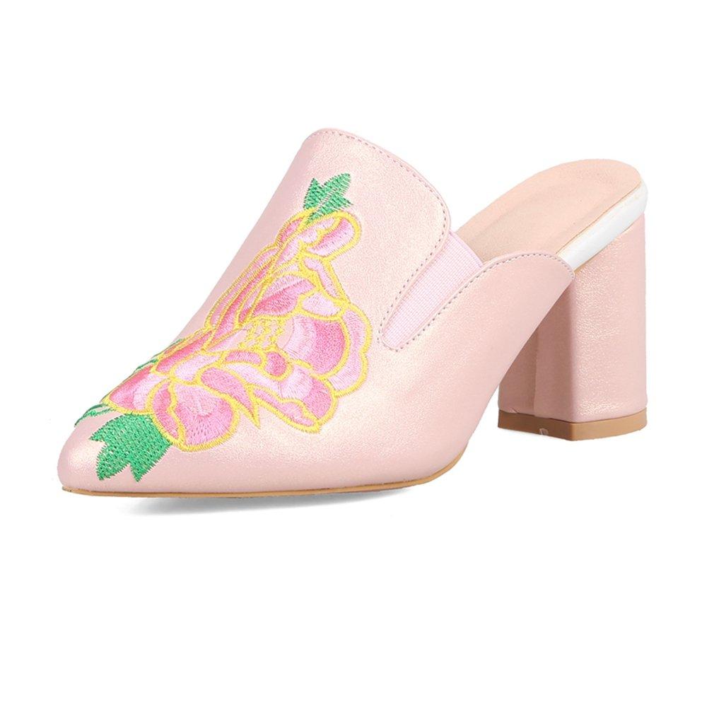GIY Women's Retro Embroidery Close Toe Platform Chunky High Heel Slide Sandals Pointed Dress Pump Sandal