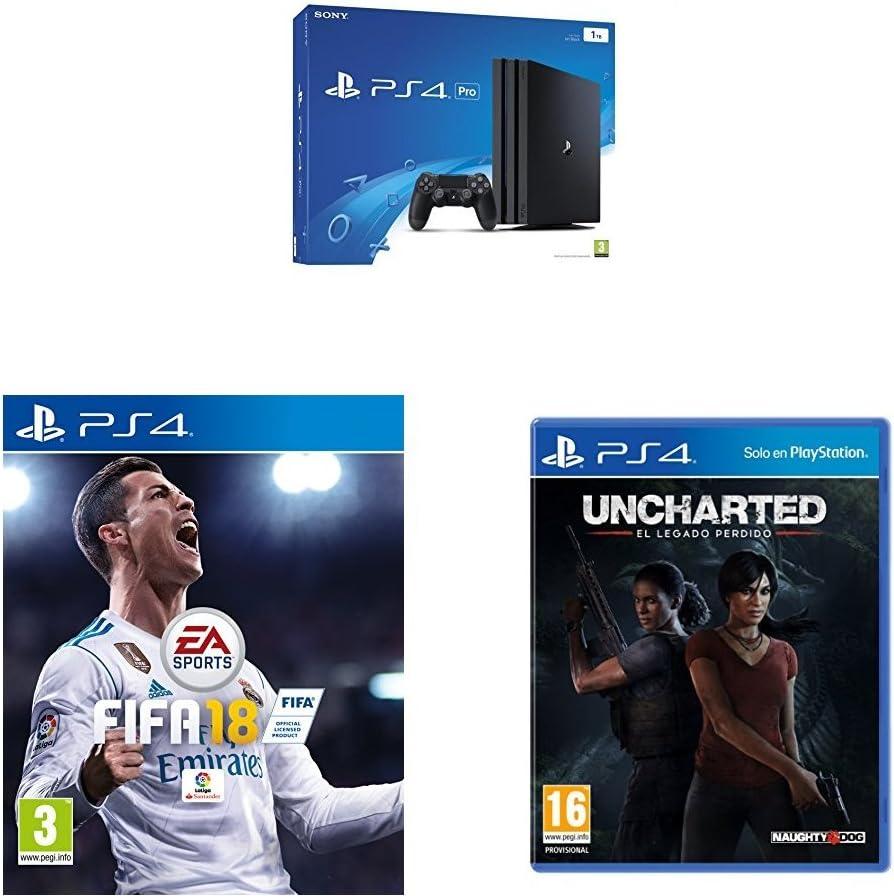 PlayStation 4 Pro (PS4) - Consola, Color Negro + FIFA 18 - Edición Estándar + Uncharted: El Legado Perdido: Amazon.es: Videojuegos