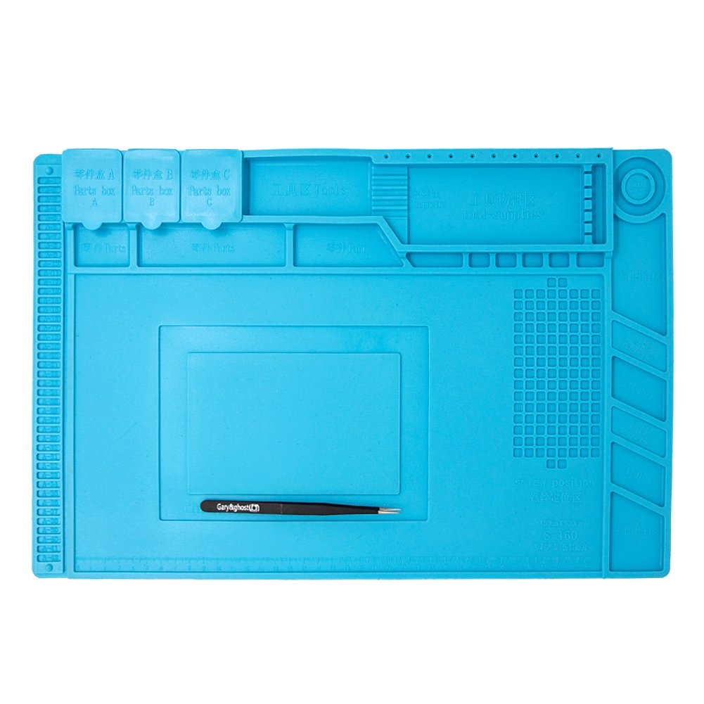 Gary&ghost Project Mat Soldering Station Heat Insulation Silicone Pad Parts & Screws Sorting Keeping Magnetic Mat for Cell Phone Repair Computer Repair, with Free Anti-Static Tweezer (Cyan)