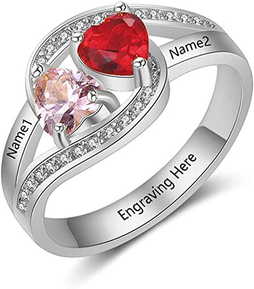 Personalized 2 Simulate Birthstones Name Rings Valentines Day Jewelry for Women