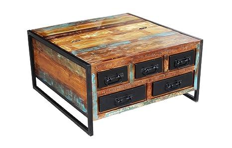 Tavolino baule vintage industrial in legno massello riciclato da ...