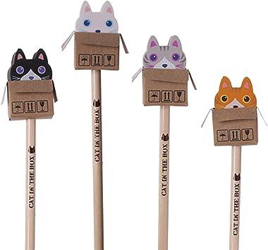 Neu: 4 lápices * Gatos * con Goma de borrar para Escuela y ...