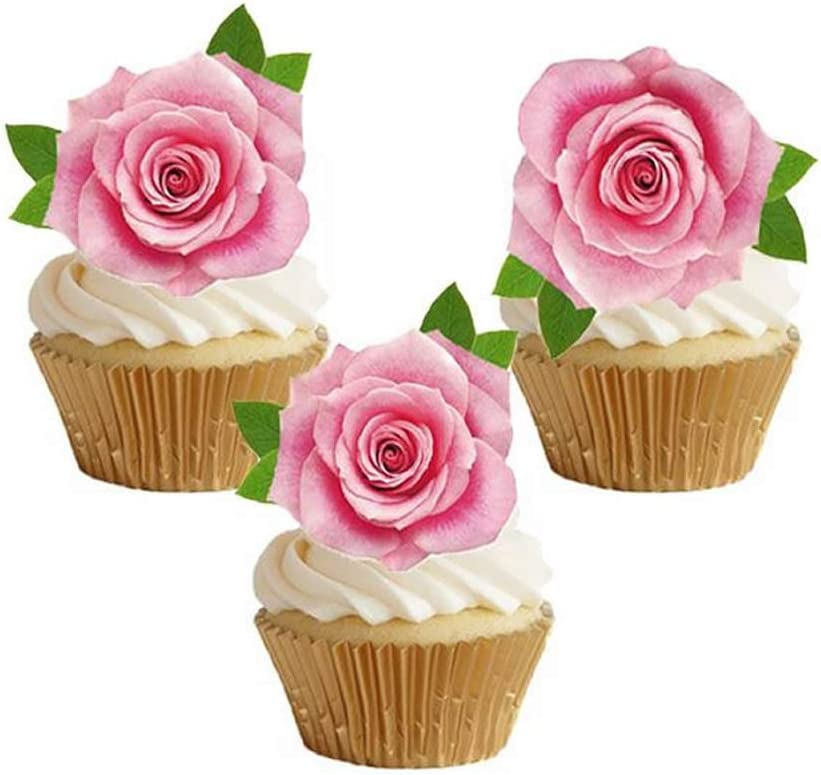 GEORLD Not 3D 24Pcs Edible Cupcake Topper Pink Rose Cake Decoration Party Decoration