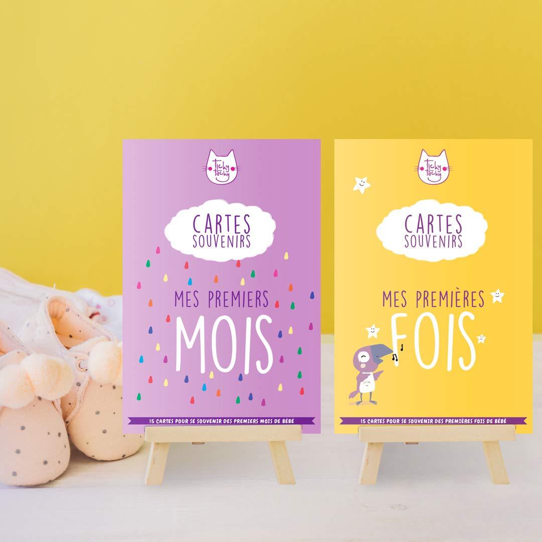 Pack duo de cartes souvenirs pour bébé : Mes Premiers Mois et Mes Premières Fois (en français)