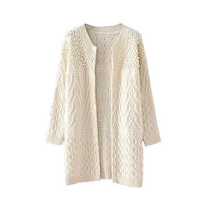 7e0f3e31be13e YOUJIA Femmes Gilet Long Chunky Tricot à câble Col Rond Cardigan Perlé  Chandail Sweater Jumper (