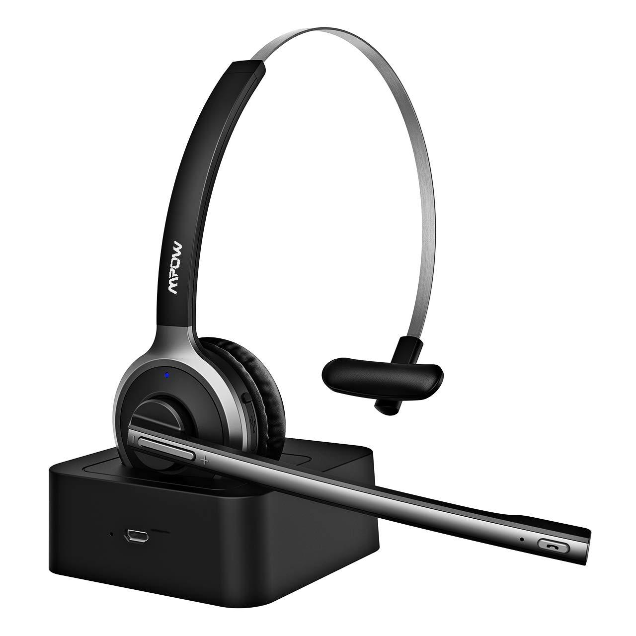 Mpow Bluetooth Headset, Drahtloses PC Headset mit Ladestation, Rauschunterdrü ckung Funk-Headset mit Mikrofon, LKW Freisprechen Chat Headset,18 Stunden fü r Computer,Skype,Call Center,Smartphone