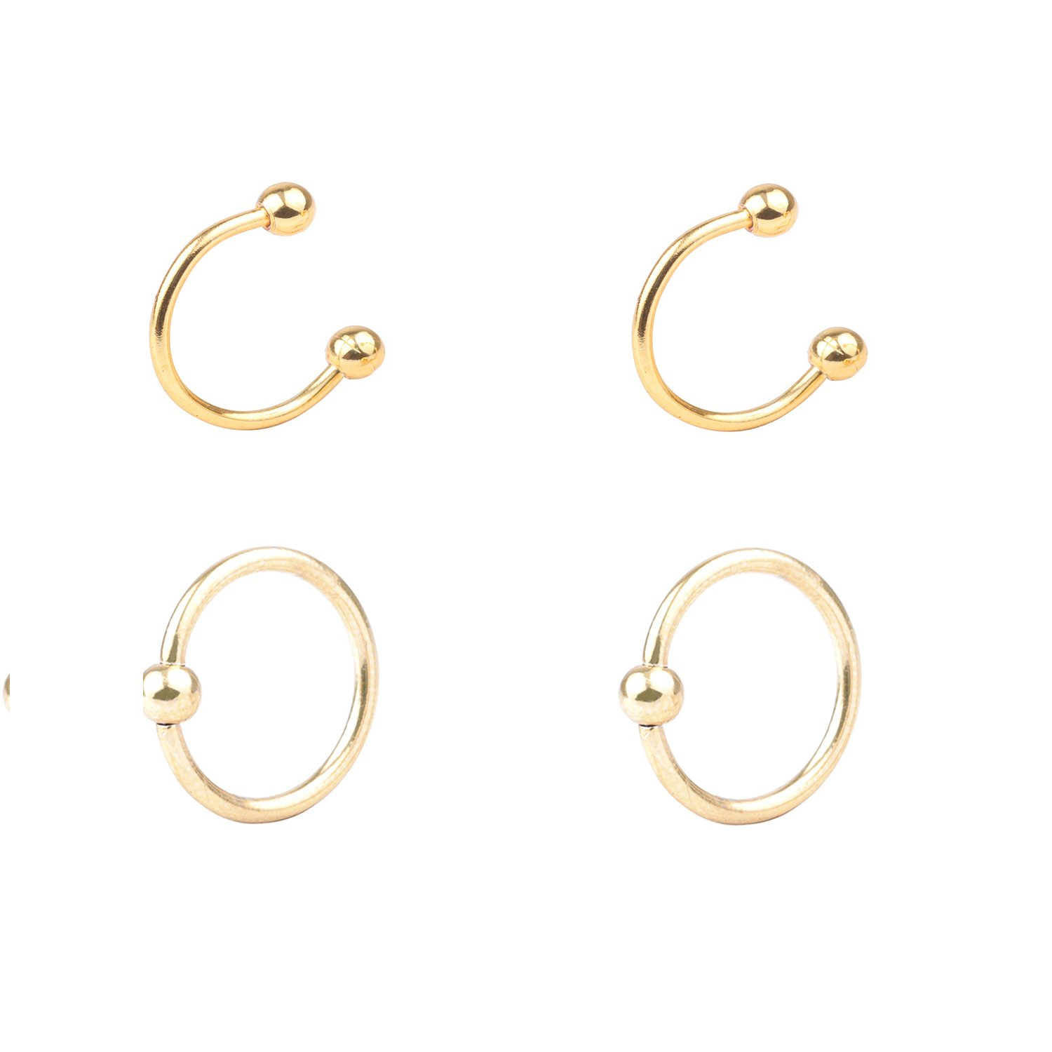 DRS 4-8pcs 16G Stainless Steel Multi-functional LipNoseNippleEyebrown Captive Hoop Ring Barbell Tragus Cartilage Stud Earrings 3mm Ball 10mm