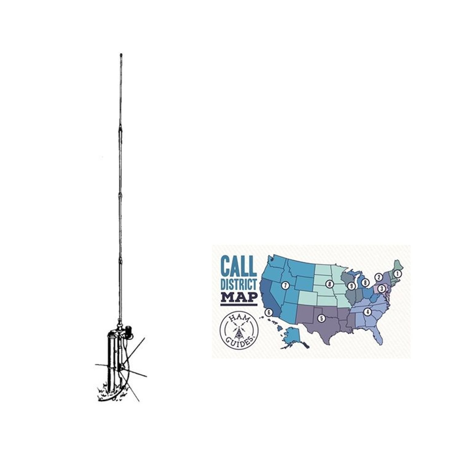 Bundle - 2 Items - Hy-Gain Vertical antenna, 10m-80m, 18ft and Ham Guides TM Pocket Reference Card