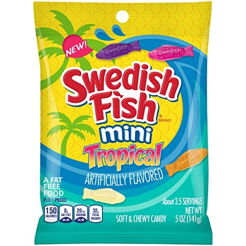 Swedish Fish Mini Tropical Fat-Free Candy, 5 Ounce, 12 - Gift Fish Tropical