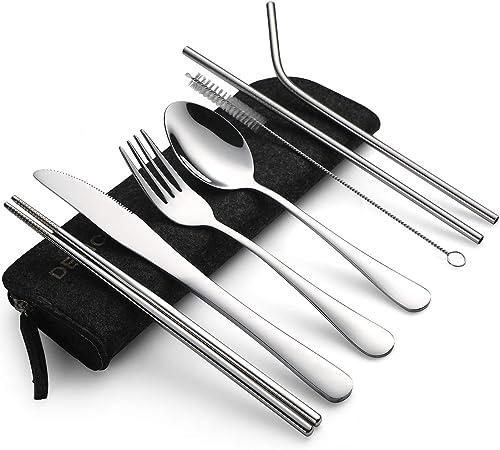 Devico - Juego de cubiertos portátiles para camping, 8 piezas, incluye tenedor, cuchara, palillos, cepillo de limpieza, estuche portátil, juego de cubiertos de acero inoxidable: Amazon.es: Hogar