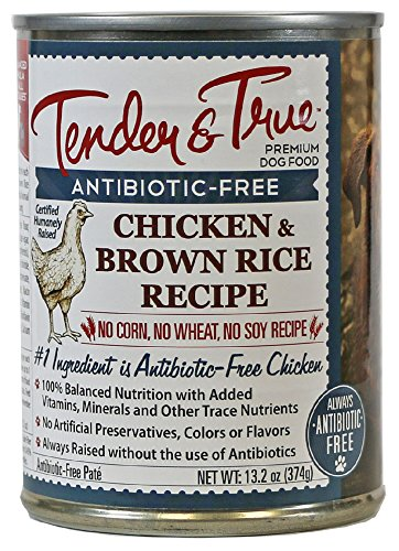 Image of Tender & True 854029 Antibiotic Free Chicken And Brown Rice Dog Food 13.2 Oz Canned Wet Dog Food, One Size