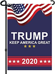 Garden Donald Trump 2020 Flag - President Keep America Great! - Double Sided Garden Yard Lawn Outdoor Decoration Banner - Election Day Party Event Celebration Parade Flags 12.5x18 Inch