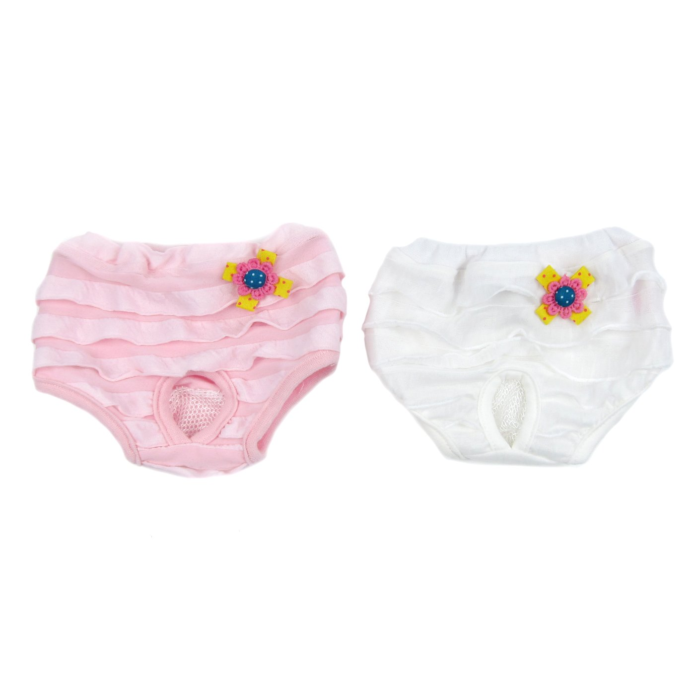 Alfie Pet by Petoga Couture - Fife Diaper Dog Sanitary Pantie 2-Piece Set - Colors: Pink and White, Size: Medium (for Girl Dogs)