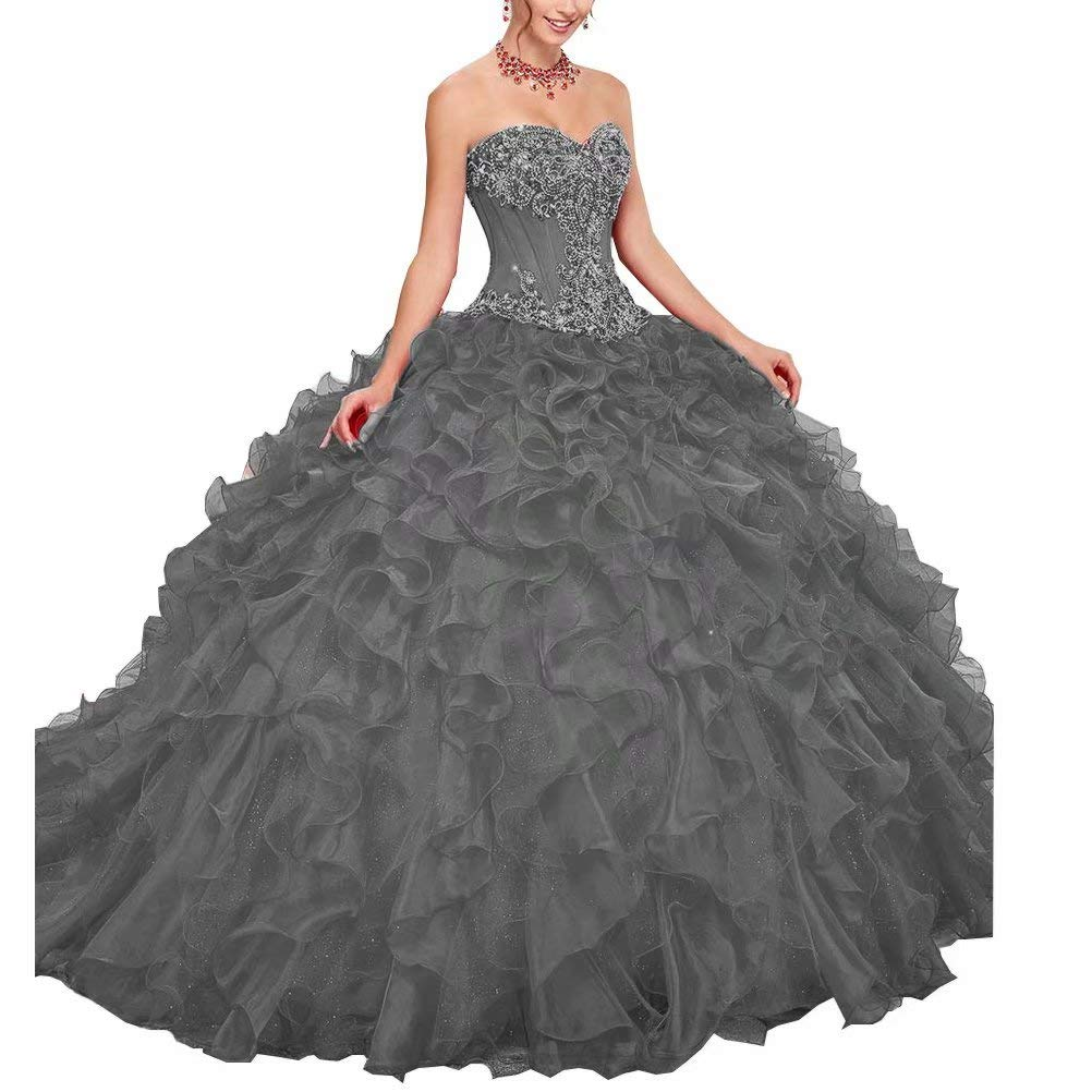 color 9 Unions Women Strapless Sweetheart Ball Gown Dress Crystal Beaded Prom Quinceanera Dresses