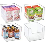 mDesign Contenedor de plástico para almacenamiento de alimentos con parte delantera abierta, para armario de cocina, despensa