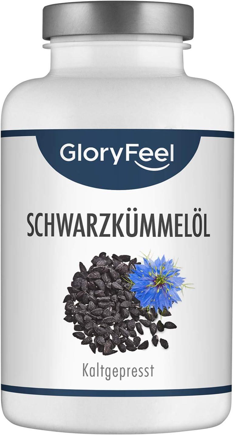 GloryFeel® Aceite de Comino Negro (Nigella sativa) 1000mg- 420 Cápsulas- Original de Egipto- Prensado al frío 80% ácidos grasos insaturados y vitamina E- Producción probada en laboratorio alemán
