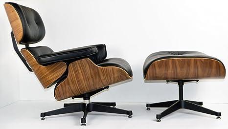 Lounge chair in palissandro e pelle nera con ottomana replica