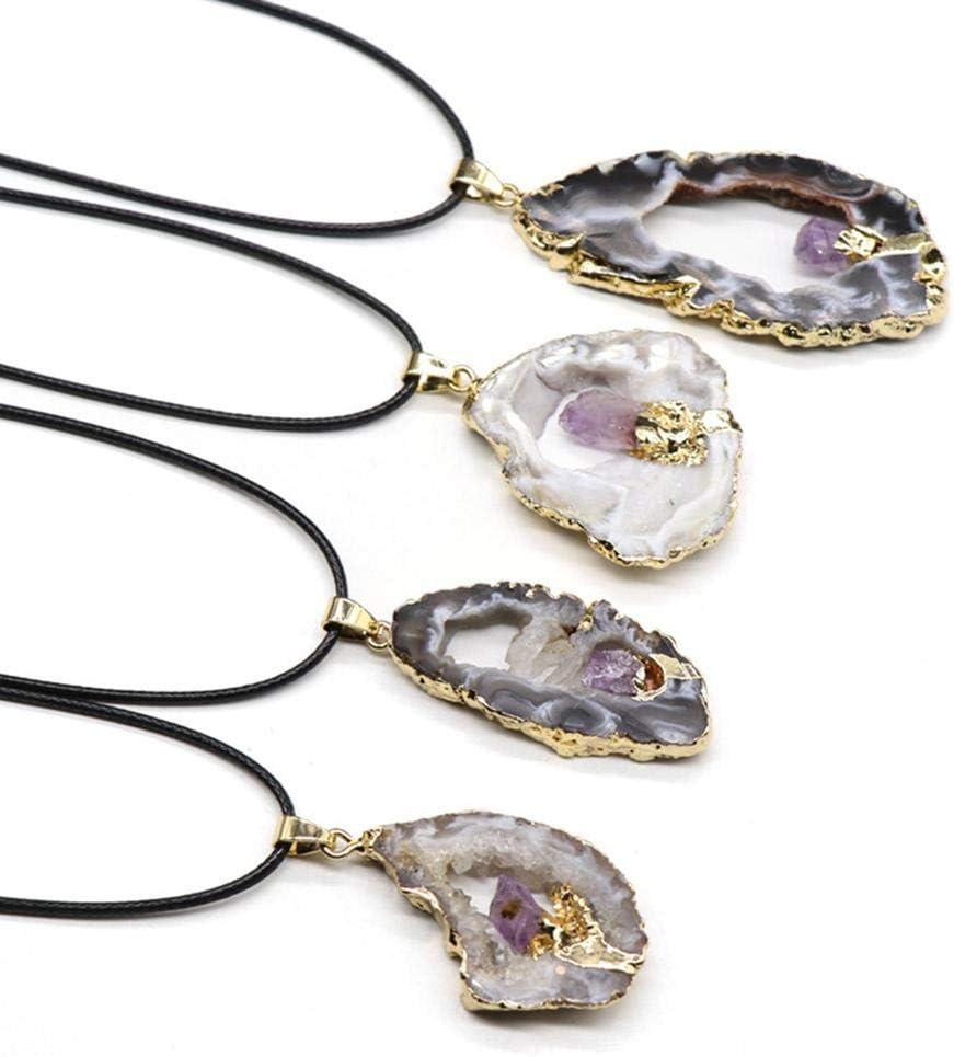 Colgante de cristal natural rebanada de la geoda ágata, collar de Irregula piedra preciosa semi curativa de la curación con los collares plateados oro del borde para el regalo de las mujeres (1pc)