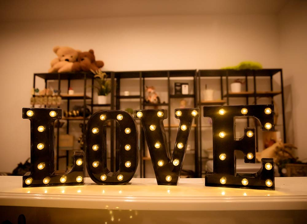 S Foaky Black LED Marquee Letter Lights Sign 26 Alphabet Light Up Marquee Letters Sign for Night Light Wedding Birthday Party Battery Powered Christmas Lamp Home Bar Decoration