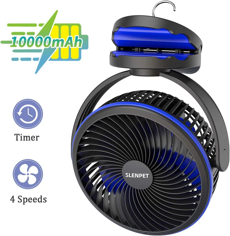 10000mAh Portable Rechargeable Clip on Fan, 7 inch Battery Operated Baby Stroller Fan, 2-6 Hours Timer, Quiet USB Fan, 4 Speeds Personal Desk Fan, 40 Hours Work Time Ideal for Hurricane Outdoor Camping Home Golf Cart Gazebo