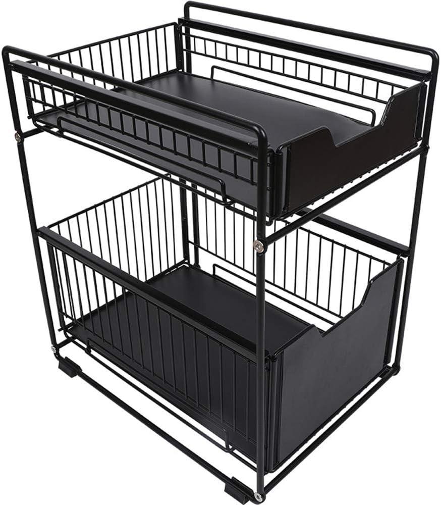 2-Tier Sliding Basket Drawers Bathroom Kitchen Bedroom Storage Cabinet Sturdy