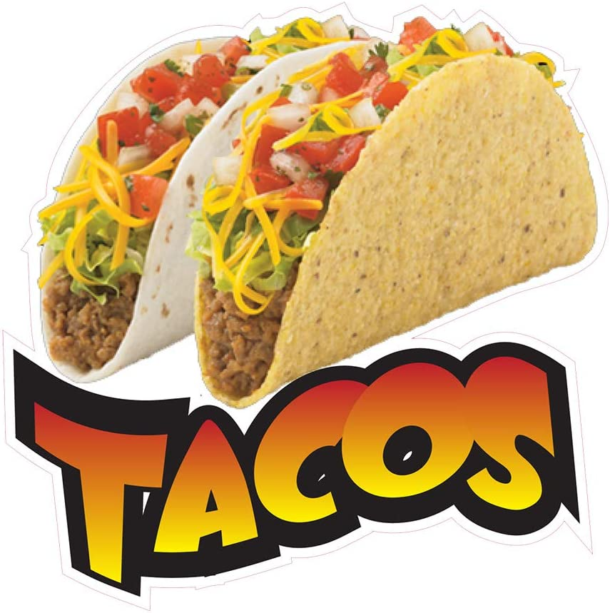 "Tacos Decal 14/"" Taco Mexican Restaurant Concession Food Truck Vinyl Sign Sticker"